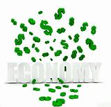 Dollar symbol raining over economy