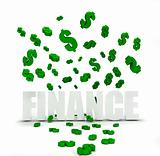dollar symbols raining over word finance