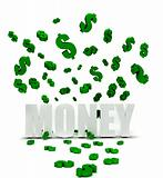 Dollars symbols raining over money
