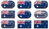 nine glass buttons of the Flag of Australia