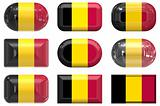 nine glass buttons of the Flag of Belgium