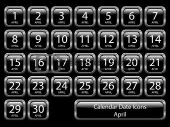 Calendar Icon Set - April