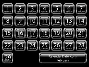 Calendar Icon Set - February