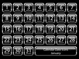 Calendar Icon Set - January