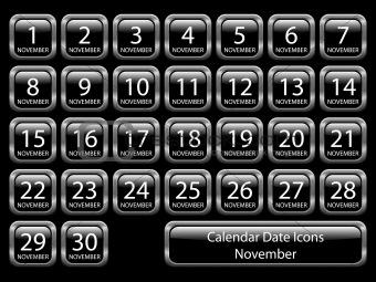 Calendar Icon Set - November