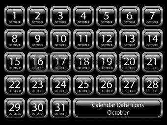 Calendar Icon Set - October