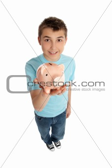 Smiling boy holding a pink pig money box