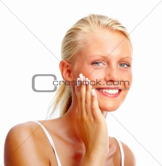 Portrait of a pretty young girl smiling over white background ,