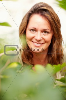 Closeup of a lady in garden, focus on the face