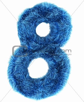 8 in blue fur