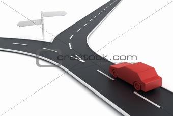 Car at road split