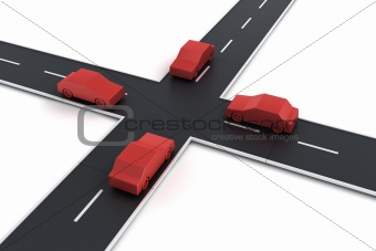 4 cars at an intersection