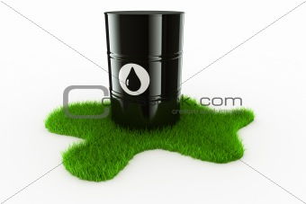 Oil drum with grass