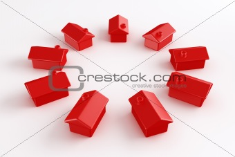Circle of red houses