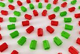 Red and green houses in a circle