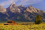 Grand Tetons with farm