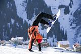 Break dance. Snowboarder, stunt. Tien Shan