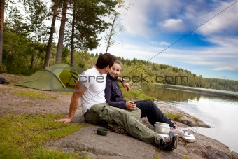 Man and Woman Camping