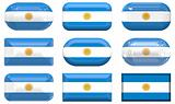 nine glass buttons of the Flag of Argentina