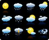 Weather_black background icon set