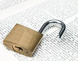 Padlock surrounding the word security