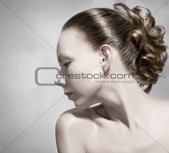 Close-up portrait of a beautiful  woman with a clear skin in pro