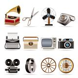 Retro business and office object icons