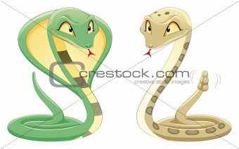 Two Snakes: Cobra and Pit Viper