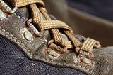 old used trekking shoes
