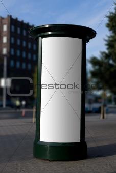 Blank outdoor advertising column