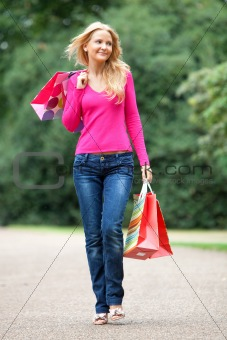 Casual shopping woman outdoors