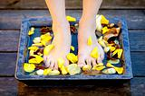 Woman feet into water