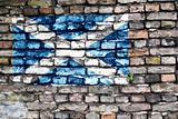 Flag of Scotland on an old brick wall