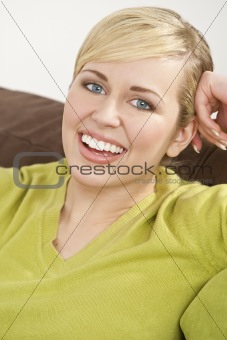 Beautiful Young Blond Woman With Perfect Teeth and Smile