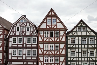 three old frame houses in Hesse Germany