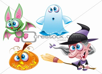 Halloween - Witch, Ghost, Bat, Pumpkin