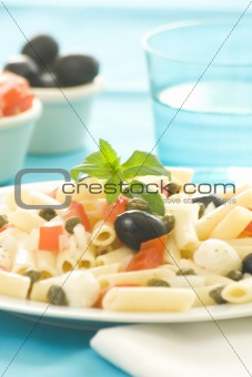 fresh macaroni mozzarella olives capers tomatoes salad