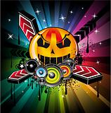 Halloween Rainbow Disco Music Background