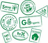 Set of stamps for organic, healthy, save our tree & earth- vector
