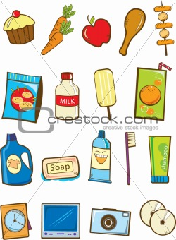 Grocery and electronic product vector