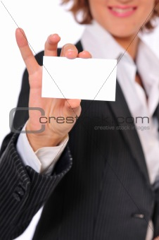 Business Woman Showing a Blank Business Card With Smiling Vertic