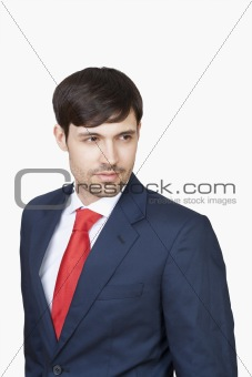 portrait of handsome business executive in suit isolated on white