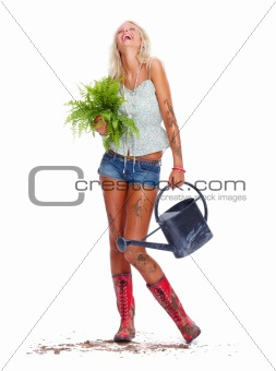 Happy hot blond posing as a gardener on white