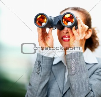 Young business woman looking into the future