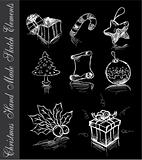 Hand Made Sketch of Christmas Design elements on black