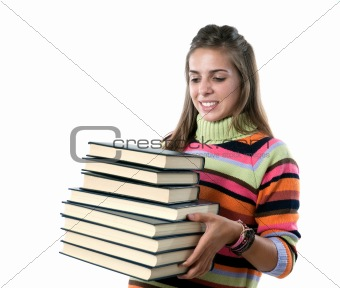 Adorable girl with many books