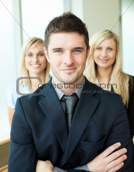 Portrait of three young business people