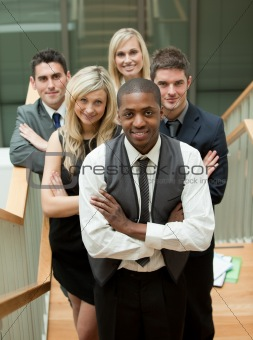 Business team in a stairs