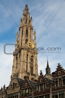Clock tower of Antwerpen, Belgium