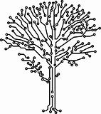Vector tree crone made of electronic paths